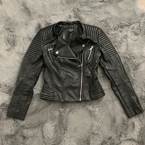 bebe Cropped Faux Leather Black Moto Biker Jacket
